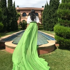 ANY PRICE!!! Green Skirt with Long Train